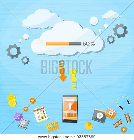 Smart Cell Phone Cloud Upload Online Internet Data Download