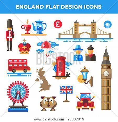 Set of flat design England travel icons, infographics elements with landmarks and famous London, Uni