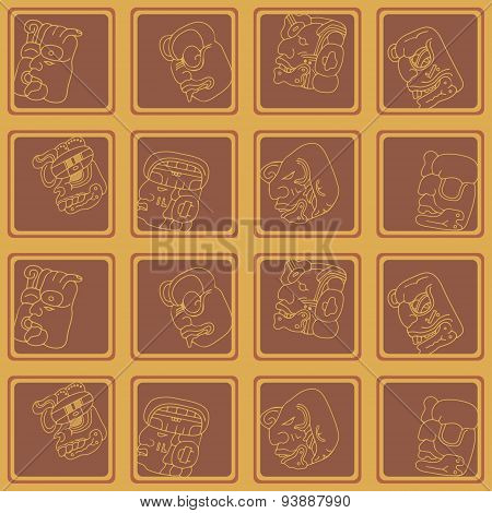 Seamless background with Maya head numerals glyphs