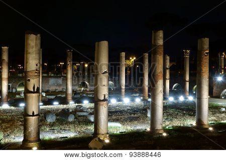 Trajan Forum At Night In Rome