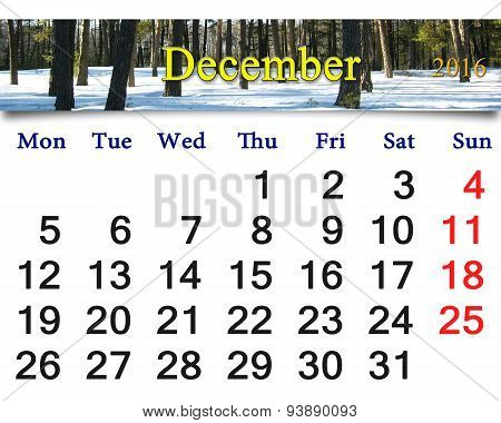 Calendar For December 2016 With Picture Of Winter Forest