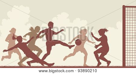 EPS8 editable vector cutout illustration of action in a ladies football match with all figures as separate objects