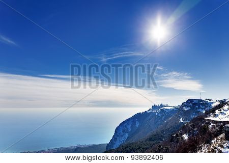 Panorama View From Ai-petri Mountain. Snow And Iced Pine Trees On Sunny Winter Day. Crimea, Russia.