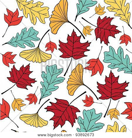 Colorful Autumn Leaf Hand Drawn Doodle Illustration Pattern Seemless