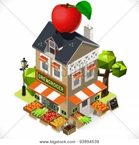 Greengrocer Shop City Building 3D Isometric