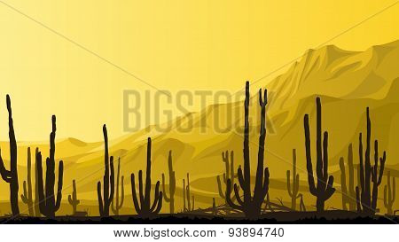 Horizontal Illustration Of Prairie With Cacti At Sunset.