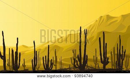 Horizontal Illustration Of Prairie With Cacti At Sunset.