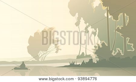 Vector Illustration Of Fisherman Fishes In Morning On Lake.