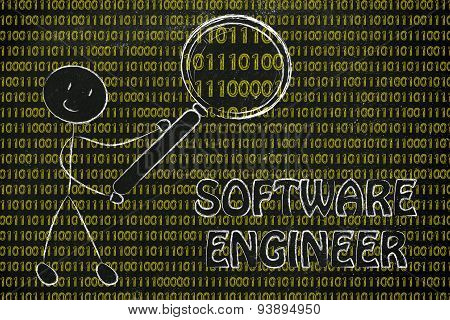 Man Inspecting Binary Code, Software Engineer Jobs