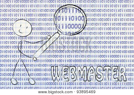 Man Inspecting Binary Code, Webmaster Jobs