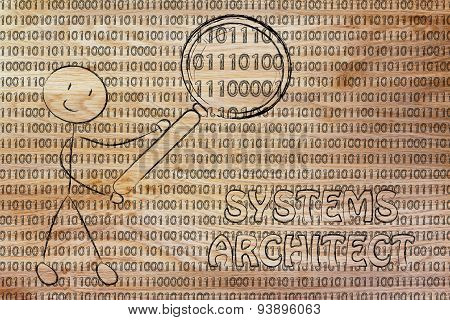 Man Inspecting Binary Code, System Architect Jobs