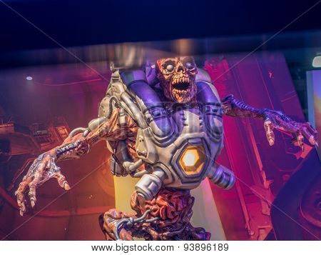 LOS ANGELES - June 17: Doom video game character sculpture at E3 2015 expo. Electronic Entertainment Expo, commonly known as E3, is an annual trade fair for the video game industry