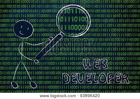 Man Inspecting Binary Code, Web Developer Jobs