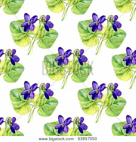 Vector Seamless Background With Watercolors Violets On White Background
