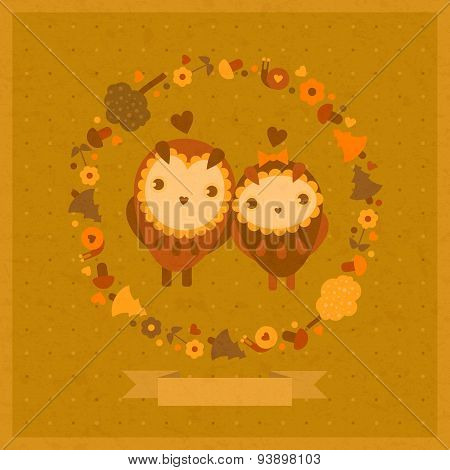 vector funny card with birds