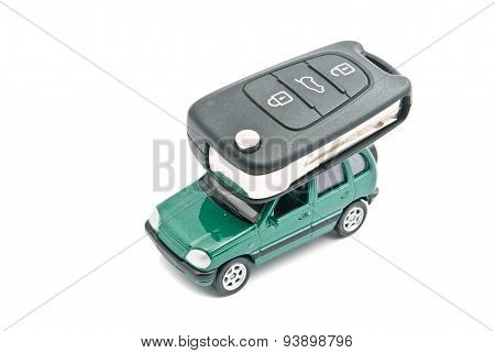 Green Car And Car Keys