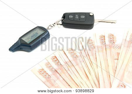 Rubles Notes And Car Alarm