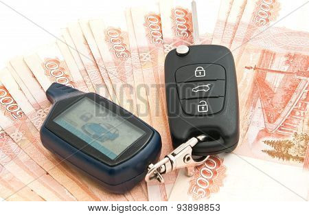 Russian Rubles Notes And Car Alarm
