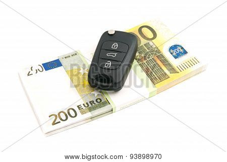 Pack Of Two Hundred Euros Banknotes And Car Keys
