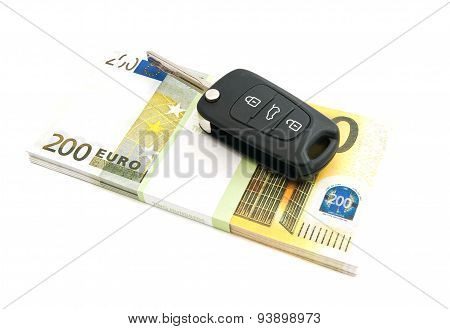 Two Hundred Euros Banknotes And Car Keys
