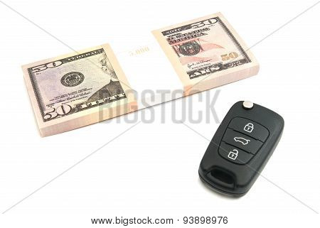 Fifty Dollars Banknotes And Car Keys