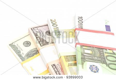 Four Packs Of Dollars And Euros Banknotes
