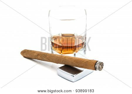 Cigar, Lighter And Whiskey