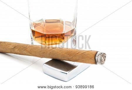 Cigar, Metal Lighter And Cognac
