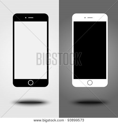 New icon mobile smartphone collection iphon style mockups with blank screen isolated. Vector illustr