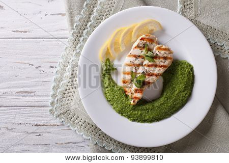 Chicken And A Side Dish Of Green Peas  Horizontal Top View