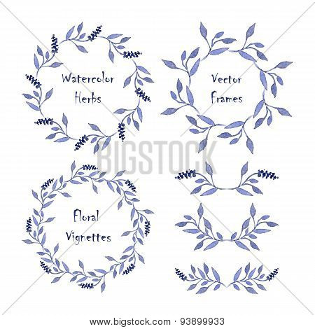 Set Of Round Frames And Vignettes Made Of Watercolor Branches.