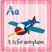picture of aeroplane  - Flashcard letter A is for aeroplane - JPG