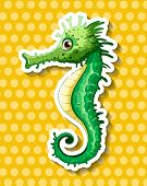 pic of seahorse  - Close up beautiful seahorse on polka dot background - JPG