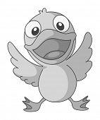 image of spread wings  - Happy duckling spreading its wings - JPG