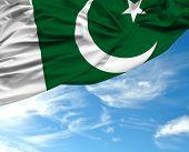 picture of pakistani  - Pakistani waving flag on a beautiful day - JPG