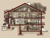 pic of slit  - If we cut a house in half we will see how zoned rooms on the floors - JPG