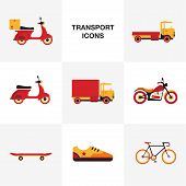 image of vespa  - Flat  retro color transport vehicle icon set - JPG