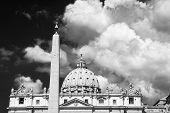 pic of obelisk  - St Peter cathedral and obelisk in dramatic black and white Vatican city Rome Italy  - JPG