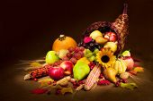 stock photo of horn plenty  - autumn cornucopia  - JPG