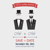 stock photo of gay wedding  - Gay wedding invitation Eps 8 - JPG