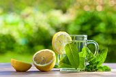 picture of peppermint  - peppermint tea with lemon on wooden table - JPG