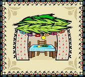 picture of sukkot  - Folk art style sukkah with decorative background - JPG