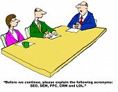 image of lol  - Business cartoon of a meeting where boss is asking for the acronyms to be defined - JPG