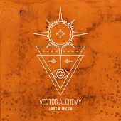 foto of occult  - Vector geometric alchemy symbol with eye - JPG