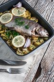 image of baked potato  - Baked trout with potatoes and onions sprinkled with parsley - JPG