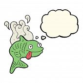 picture of smelly  - cartoon smelly fish with thought bubble - JPG