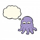 pic of squid  - cartoon alien squid face with thought bubble - JPG