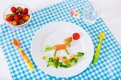 image of vegetarian meal  - Healthy vegetarian lunch for little kids - JPG