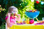 image of bbq party  - Children grilling meat - JPG
