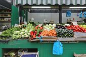 foto of farmers market vegetables  - Fresh Vegetables at Farmers Market Stall in Rome Italy - JPG